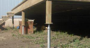 Деревянный дом на стальных винтовых сваях